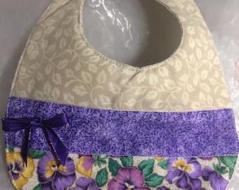 Purple Pansies bib