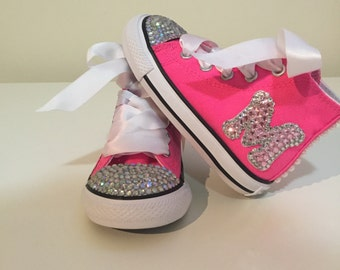 Hot Pink Rhinestone Converse with Initial Letter!