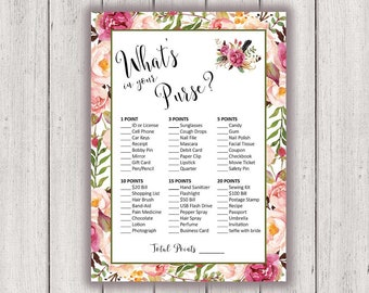 BRIDAL SHOWER GAME, Whats in Your Purse, Printable Bridal Shower Game, Boho Chic Bridal Party Game, Printable Game Card, diy