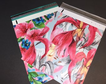 50 Designer Poly Mailers 10x13 PINK and RED Tropical Flowers Assortment Envelopes Shipping Bags 25 Each Spring Mother's Day