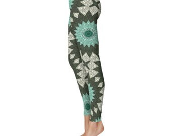 Mandala Art Leggings - Aquamarine and Forest Green Boho Yoga Pants, Turquoise Mandala Pattern Tribal Tights
