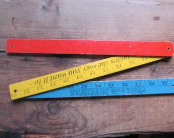 Tri Colored Ruler Vintage Wood Folding Yardstick Advertisting Wolfschimdt Vodka