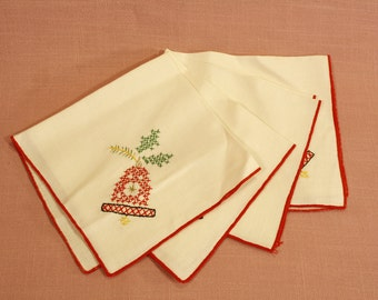 4 Hand Cross Stitched Christmas Napkins
