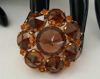 AUSTRIA Brown Glass Pin