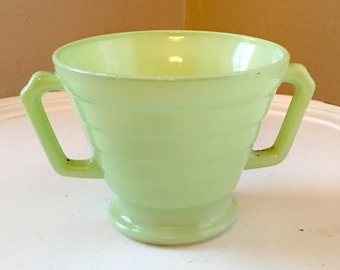 Vintage Hazel Atlas Moderntone Green Sugar Bowl