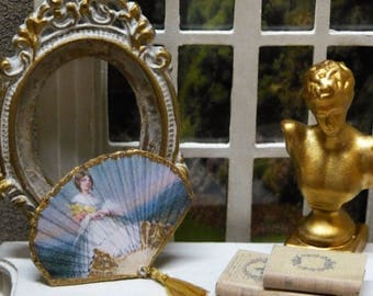"""Fan Miniature """"Woman"""" - 1/12 scale - Victorian style fashion accessory for doll's House"""