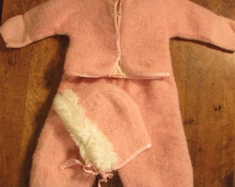 Vintage Pink Baby Snowsuit, Felted Wool Baby Snowsuit, Rabbit Fur Trimmed Bonnet, Two Piece Baby Girl Snowsuit, Knit Cuffs, Size 9 Month?