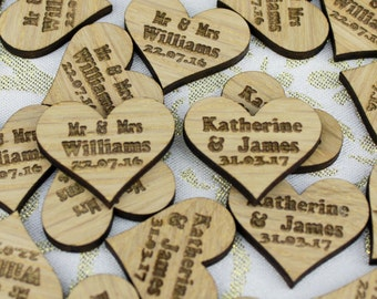 Personalised Wooden Engraved Heart Shape Table Confetti - Forenames, Mr and Mrs, Mr and Mr, Mrs and Mrs