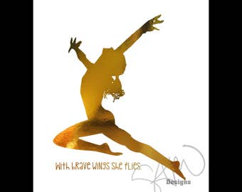 Gymnastics Series With Brave Wings She Flies Metallic Gold print