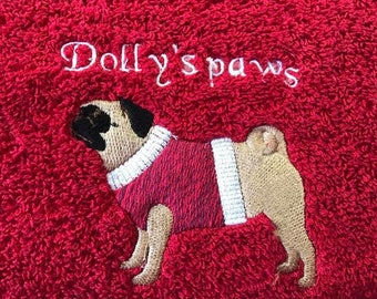 Dog hand towels for dirty paws, pug, french bull dog