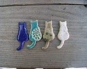 Fantastic Cat magnet, gift for cat lovers, refrigerator magnets, cat, blue cat, Turquoise cat, white cat, cat magnet, Sitting cat, cat gift