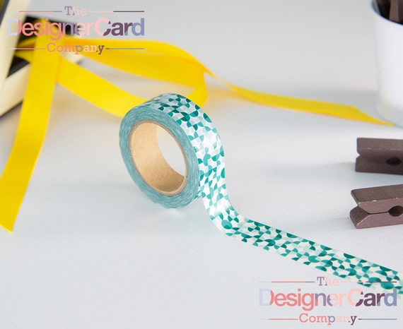 Green geometric design washi tape masking tape from for Geometric washi tape designs