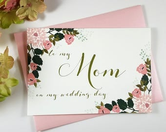To My MOM on my Wedding Day Card, Mother of the Bride Card, Mother of the Bride Gift, Mother of the Groom Card, Mother of the Groom Gift