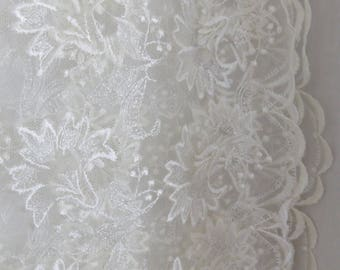 """Schiffli Embroidered Bridal Lace Rayon Vintage Soft White 44"""" Width"""