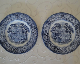 Liberty Blue Monticello Ironstone Bread Butter 6 Inch Plates England Lot of 2 Blue and White Decor Display Plates Colonial Scene