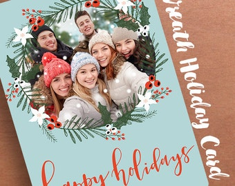Happy Holiday Wreath Photo Card