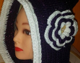 Hoodie with cowl, hooded cowl, cowl with hood and flower