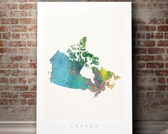 Canada Map - Country Map of Canada - Art Print Watercolor Illustration Wall Art Home Decor Gift  - NATURE SERIES PRINT