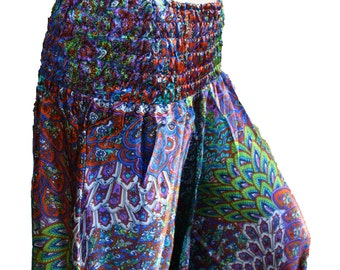 satin harempant aladinpant trousers hippie gipsy goa yoga pixie printed onesize XS - XXL feather oriental