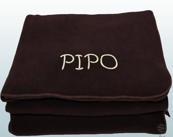 Personalized Custom Embroidery Name Polar Sofa Bed Travel Fleece Embroidered Blanket - Brown
