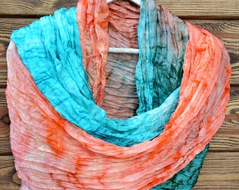 Turquoise Hand-painted silk oversized Shibori Unique scarf 35x88 one-of-a-kind gift idea coral boho design shawl woman clothing present