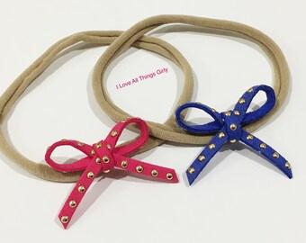 Baby Suede Studded Tie Bow Headband, Baby headband, Bow tie,