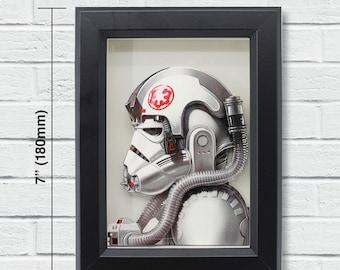 """Star Wars Layered Paper Cut Art """"AT-AT Pilot"""""""