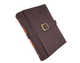 Vegan Leather Handbound Journal with Buckle - Chocolate Brown with tan thread - Travel Journal - Sketchbook