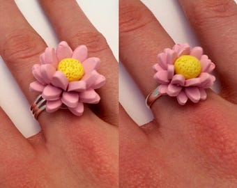 Handmade Polymer Clay Flower Ring - Floral Ring- Polymer Clay Ring - Pink Flower Ring - Silver Ring - Handmade Ring - Extendable Ring