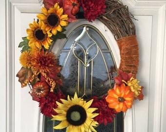 Fall Wreath, Fall Front Door Wreath, Sunflower Wreath, Autumn Wreath