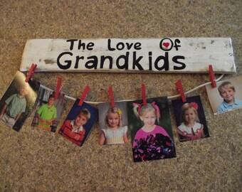 Grandparents picture holder     Grandkids sign   Grandparent gift   Grandparent picture hanger  Valentine gift  Valentine picture holder