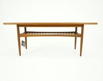 308-093 Danish Mid Century Modern Teak Coffee Table w/ Shelf