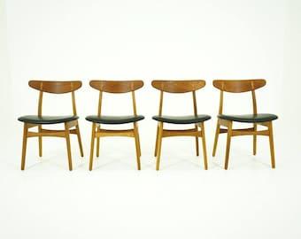 D220 Danish Mid Century Modern Set 4 Oak & Teak Dining Chairs by Hans Wegner