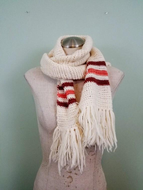 Neapolitan 1970s Extra Long Scarf / Hand Knit Muffler / Cream, Brown, and Pink / Winter Accessories / Tassel Fringe Trim