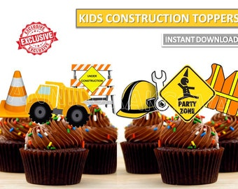 Construction Cupcake Toppers Printables Cake Instant Download You Print