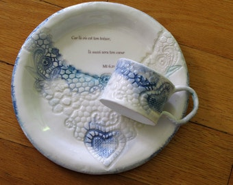 Plate at breakfast or dessert and cup of espresso with biblical verse, Impression of heart in lace, handmade porcelain