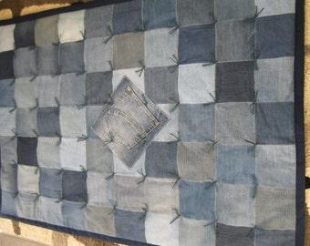 Handmade Denim Lap or Throw Quilt Blanket