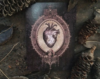 Macabre Medical Black Anatomical Heart, I love you Valentines, Occult Wiccan Witchcraft Love Spell, Gothic Decor. Luxury greeting card.