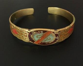 Vintage Ethnic Motif Enamel Copper Cuff Bracelet