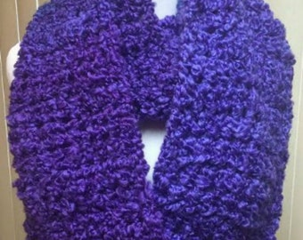 Purple Scarf, Crochet Scarf, Violet Scarf, Chunky Scarf, Infinity Scarf, Fuzzy Scarf, Gifts for Her, Winter Scarf, Circle Scarf
