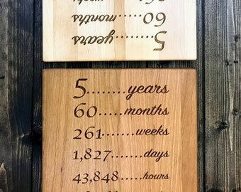 5 Year Anniversary Gift Wood - Gift for 5th Anniversary - 5th Wedding Anniversary - Fifth Anniversary