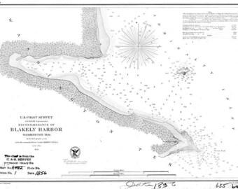 1856 Nautical Map of Blakely Harbor