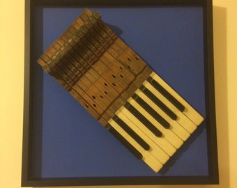 Vintage Piano Keys in Deep Box Picture Frame