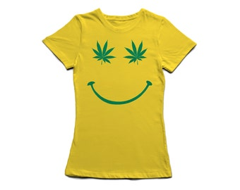 Cannabis Leaf Smiley Womens Fitted T-Shirt - 420 Stoner Wear Clothing