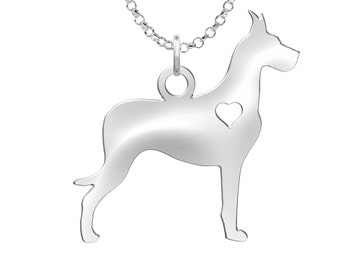 Great Dane Necklace | Solid Sterling Silver | Great Dane Silhouette Charm | Personalized Dog Jewelry | Dog Pendant | Great Dane Earrings