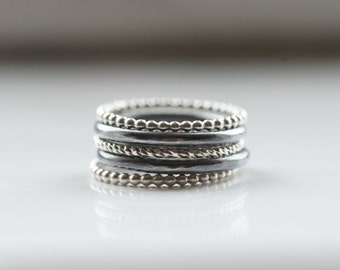 Stackable rings Set of 5 rings Sterling silver ring Stacking rings Oxidized silver ring Skinny ring Dainty ring Stackable ring set Gift