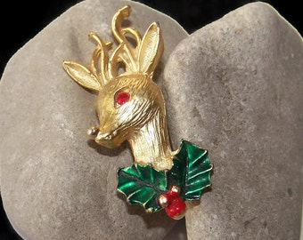 Vintage Reindeer Brooch, Reindeer Pin, Holiday Pin, Holiday Brooch, Christmas Jewelry, Christmas Brooch, Fun Jewelry, Animal Pins, Holidays