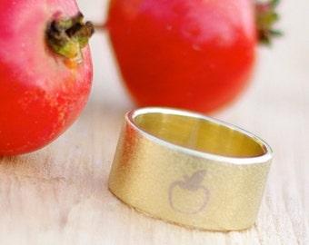 Rustic fruit tree ring Handstamped golden apple band ring Brass jewelry Gardener gift