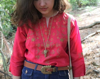 Vintage Embroidered Red Shirt