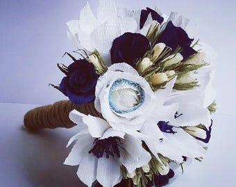 White Blue Magnolias Ivory LittleRoses, 3big roses, Dark Blue Bride Wedding Bouquet Crepe Paper Flowers